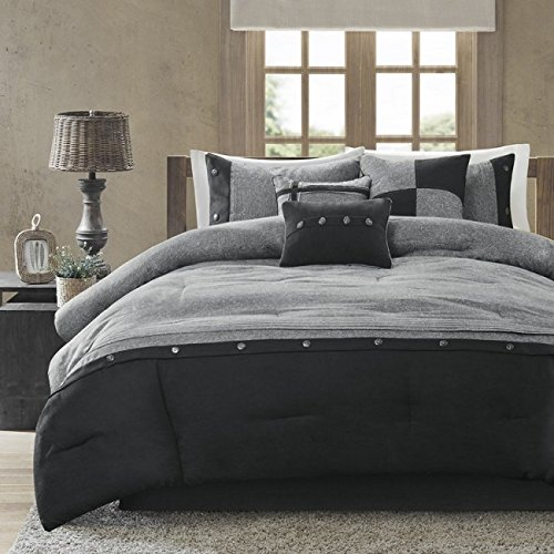 Madison Park MP10-2790 Boone 7 Piece Comforter Set44; Grey - Queen
