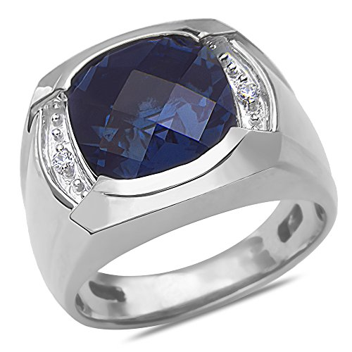 .04CT Men's Ring with Created Sapphire with Jback in 10k White Gold