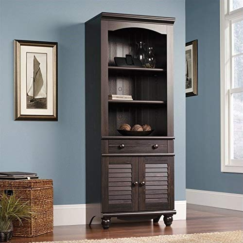Sauder Harbor View Library with Doors, Antiqued Paint finish (Corner Small Hutch Kitchen)