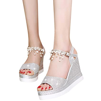 d83ba2b7b1 Amazon.com: High Heels Wedge Sandals Slipper Women Platform Shoes Buckle  Peep-Toe Wedges Shoes (US:7, Silver): Home Audio & Theater