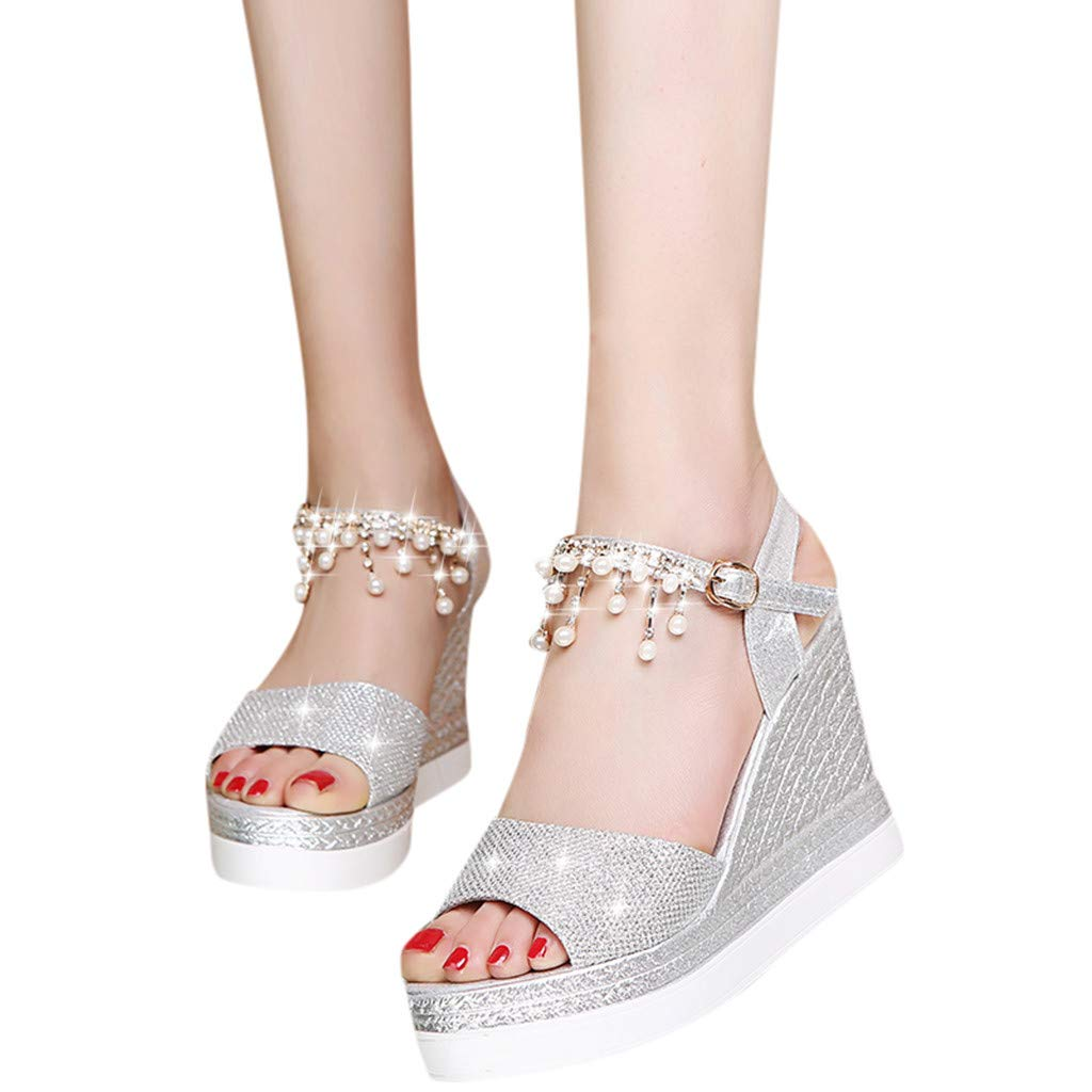 〓COOlCCI〓Womens Middle Wedge Heel Ankle Strap Open Toe Flip Sandals Espadrille Platform Wedges Sandals Slingback Silver by COOlCCI_Shoes (Image #2)