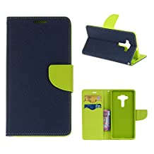 "MOONCASE ZenFone 3 ZE552KL Case, Premium PU Leather Flip Kickstand Case Cover for Asus ZenFone 3 ZE552KL 5.5"" Bookstyle Folio Wallet Case Sapphire-Green"
