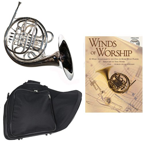 Band Directors Choice Silver Plated Double French Horn Key of F/Bb - Winds of Worship Pack; Includes Intermediate French Horn, Case, Accessories & Winds of Worship Book by Double French Horn Packs