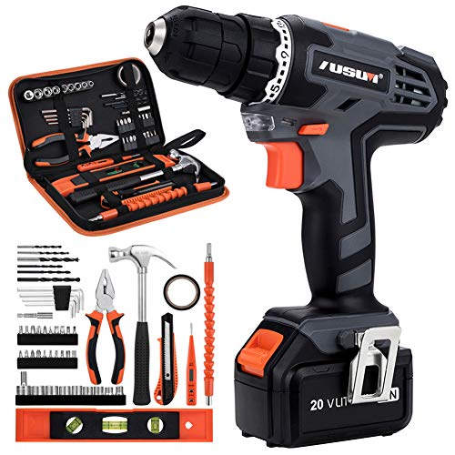 Cordless Drill Driver Kit, 20V Max Electric Drill Set/Lithium-Ion Battery Driver, Fast Charger, 21+1 Clutch, 49 piece, Variable Speed & Built-in LED for Drilling Wood, Metal