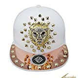 myglory77mall PRANKERS Handmade Flat Cap Snapback Bboy Hats Adjustable Hip-Hop gl9g White Mesh L For Adults