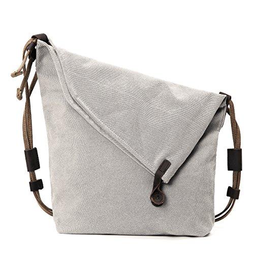 Canvas Baguette Handbag (Retro Canvas Bag, JOSEKO Women Vintage Messenger Bag Genuine Leather Canvas Crossbody Bag Tribal Rucksack Off White 11.42