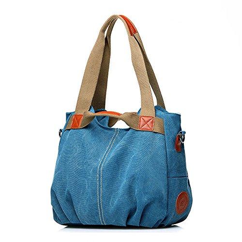 Women Fashion Canvas Casual Tote Bags Hobo Shoulder Bag Blue - 9