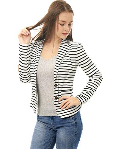 (Allegra K Women's Notched Lapel Pocket Button Closure Striped Blazer White XL (US 18))