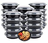 50 meal prep Containers Reusable - Food Containers meal prep Bowls & Lids (24 OZ.) meal prep Plastic Microwavable Food Containers meal prep Storage Lunch Containers Freezer Dishwasher