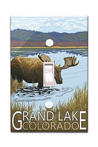 OKSLO Grand Lake, Colorado - Moose & Lake - Lantern Press Poster (Light Switchplate Co