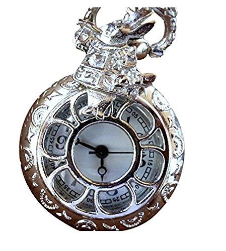 Alice in Wonderland Tea Party Steampunk pocket watch necklace-pw2