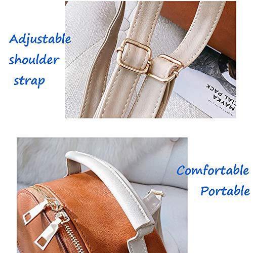 Petit Visage Sac Sac Simple Nouveau à Brown Mode Cuir Bandoulière Casual Doux Daypacks De Dos Couleur Femmes à Sac PU Unie O6gYvawq