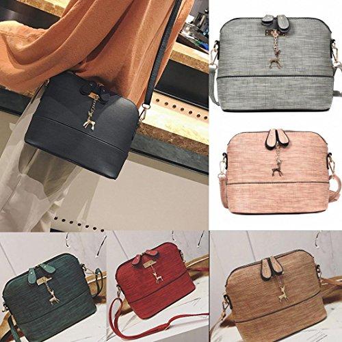 BZLine® Frauen Messenger Bags Vintage Kleine Shell Leder Handtasche Tasche Pink