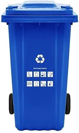 LSLMCS Papeleras de Reciclaje, Wheelie Bin Liners for Trabajo Pesado con Ruedas Reciclaje Can/Bin, for el Dormitorio Baño, Cocina, Jardín |Deposito de Basura (Color : Blue): Amazon.es: Hogar