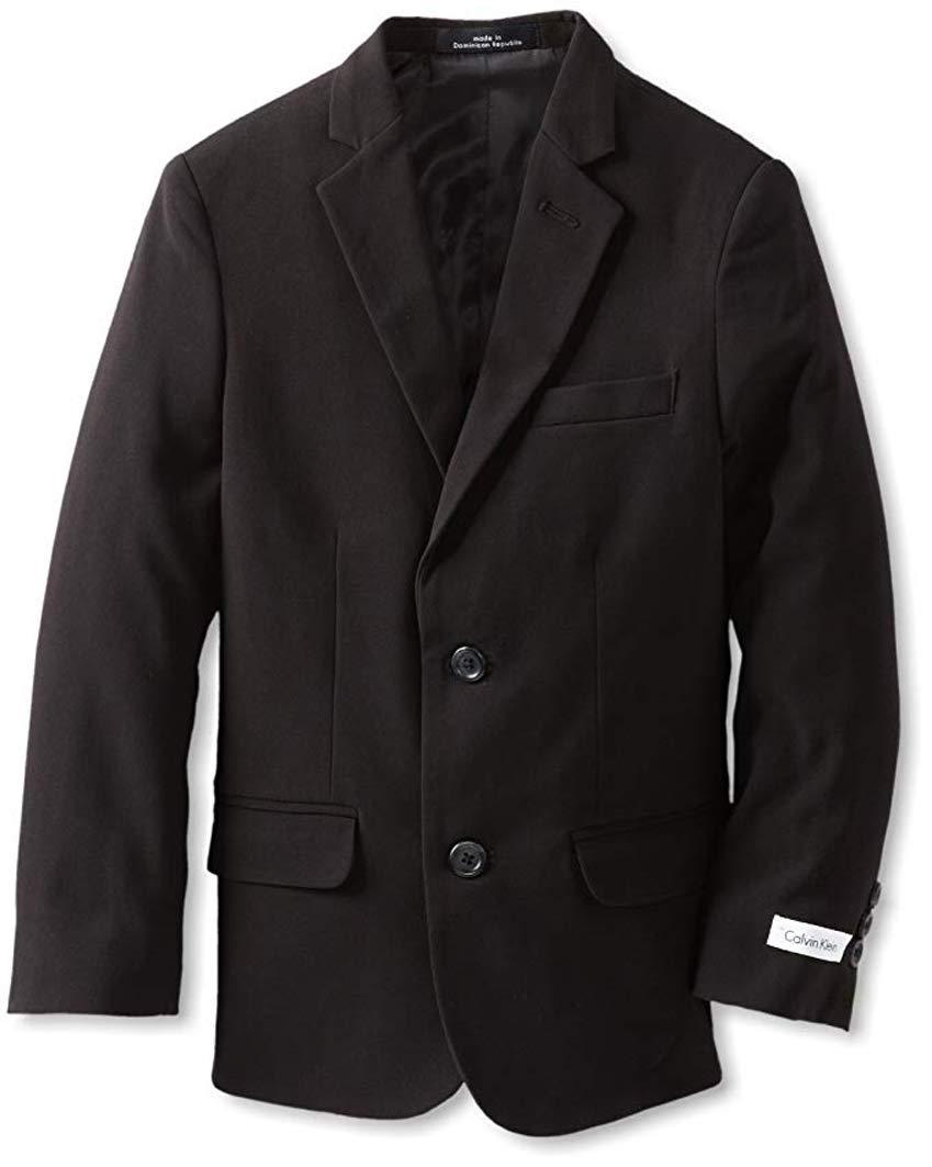 Calvin Klein Big Boys' Husky Bi-Stretch Blazer,Black,16