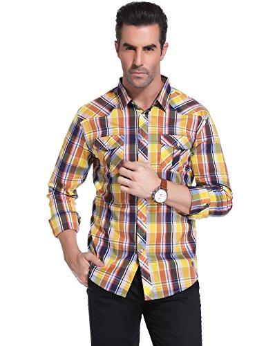 iClosam Men's Long Sleeve Casual Western Plaid Snap Button Down Shirt ()