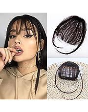 Human Hair Bangs Clip on Real Hair Dark Brown #4 Flat Bangs with Temples Hand Made Mini Air Bangs (Black bangs)