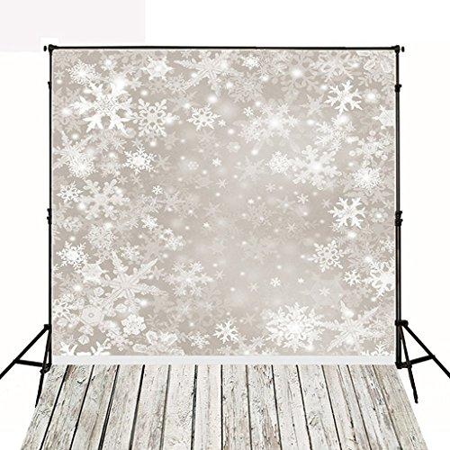 DODOING 3x5ft Christmas Snowflake Theme with Wood Floor Scene Vinyl Photos Backdrop Photography Background for Photo Studio Props