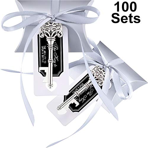 Jovitec 100 Sets Vintage Key Bottle Openers Wedding Favor Souvenir Gift Set Pillow Shape Candy Gift Box Escort Thanks Tag French Ribbon (Silver) -