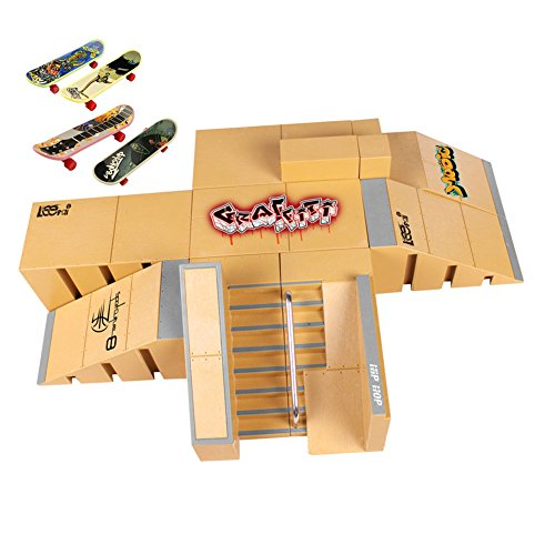 Uspeedy Finger Skateboard Starter Kit Ramp 8 PCS Set and Board 4 PCS Plastic Finger Skateboard Toys Color Random for Children and Adults (1 As pictures show) by Uspeedy