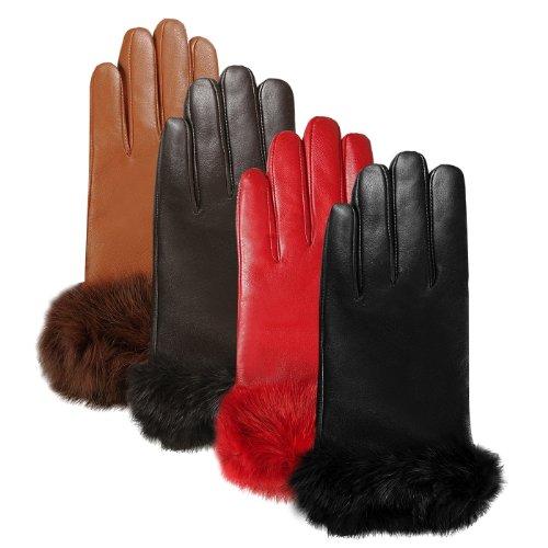 Luxury Lane Women's Rabbit Fur Cuff Cashmere Lined Lambskin Leather Gloves - Chocolate Medium