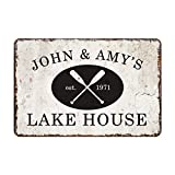 lake home decor Personalized Vintage Distressed Look Lake House Metal Room Sign