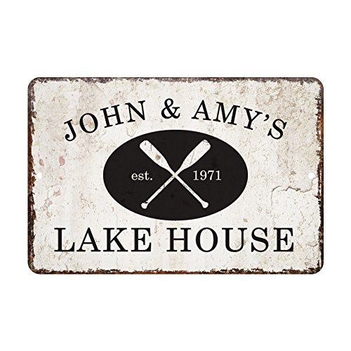 Sign Distressed (Personalized Vintage Distressed Look Lake House Metal Room Sign)