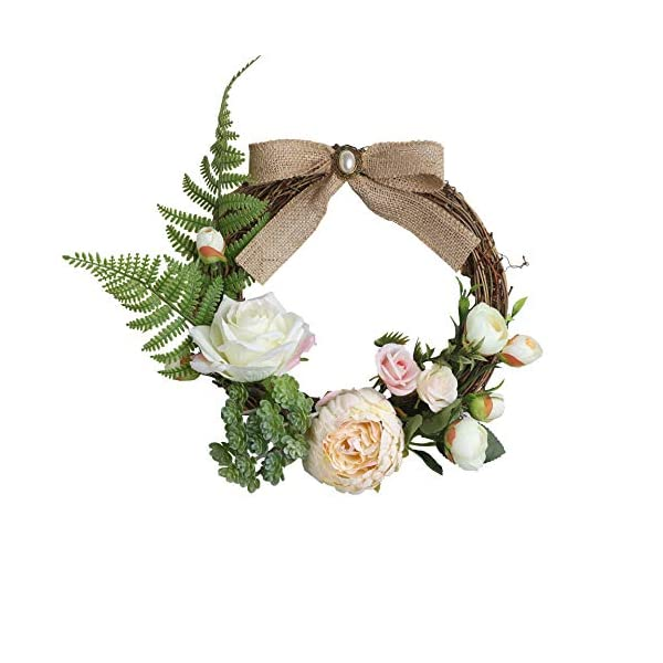 Yokoke Christmas Wreath 22cm Artificial Flowers Handmade Peony Garlands Rose Hydrangea Wall Decorations Hanging Loop Wedding Festivals Decorations