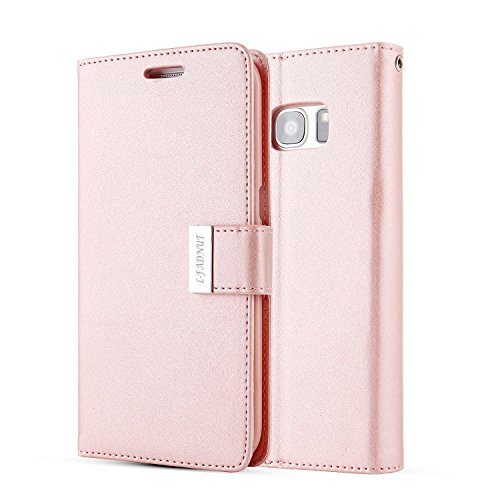 For Samsung Galaxy S6 Edge Case,L-FADNUT Luxury Folio Flip Fabric Leather Case,[Dual Card Slots][Metal Megnetic Closure] with Stand Wallet Card Holder Case Cover For Samsung Galaxy S6 Edge - Rose Gold