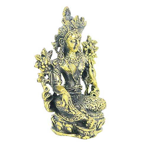 Prettyia Bronze Buddha's Home Garden Ornaments Decorative Mini Statues Thai - White Tara, as described