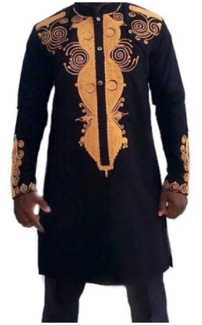 CrazyDay Mens Painting African Mid Long Button Stand Collar Top Shirt