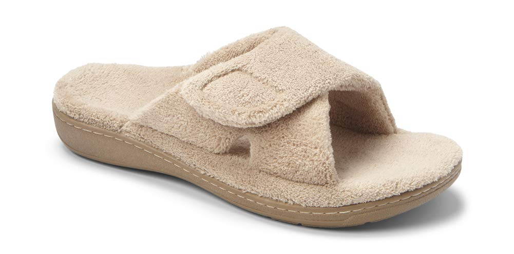 Vionic Women's Indulge Relax Slipper - Ladies Adjustable Slippers with Concealed Orthotic Arch Support Tan 7M