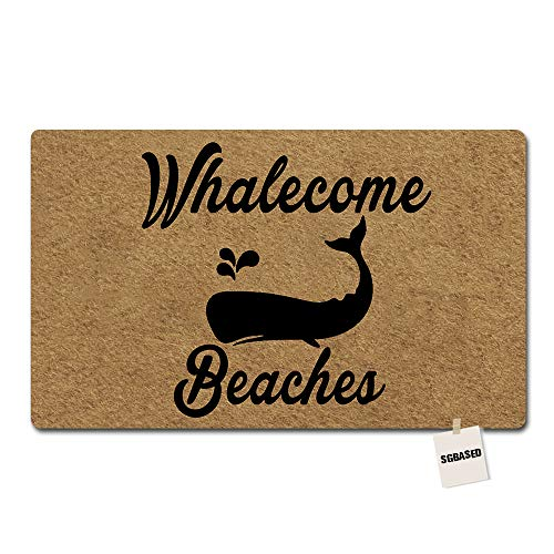 SGBASED Door Mat Whalecome Beaches Designed Mat Rubber Non-Slip Entrance Floor Mat Outdoor & Indoor Rug Doormat Non-Woven Fabric (23.6 X 15.7 inches)