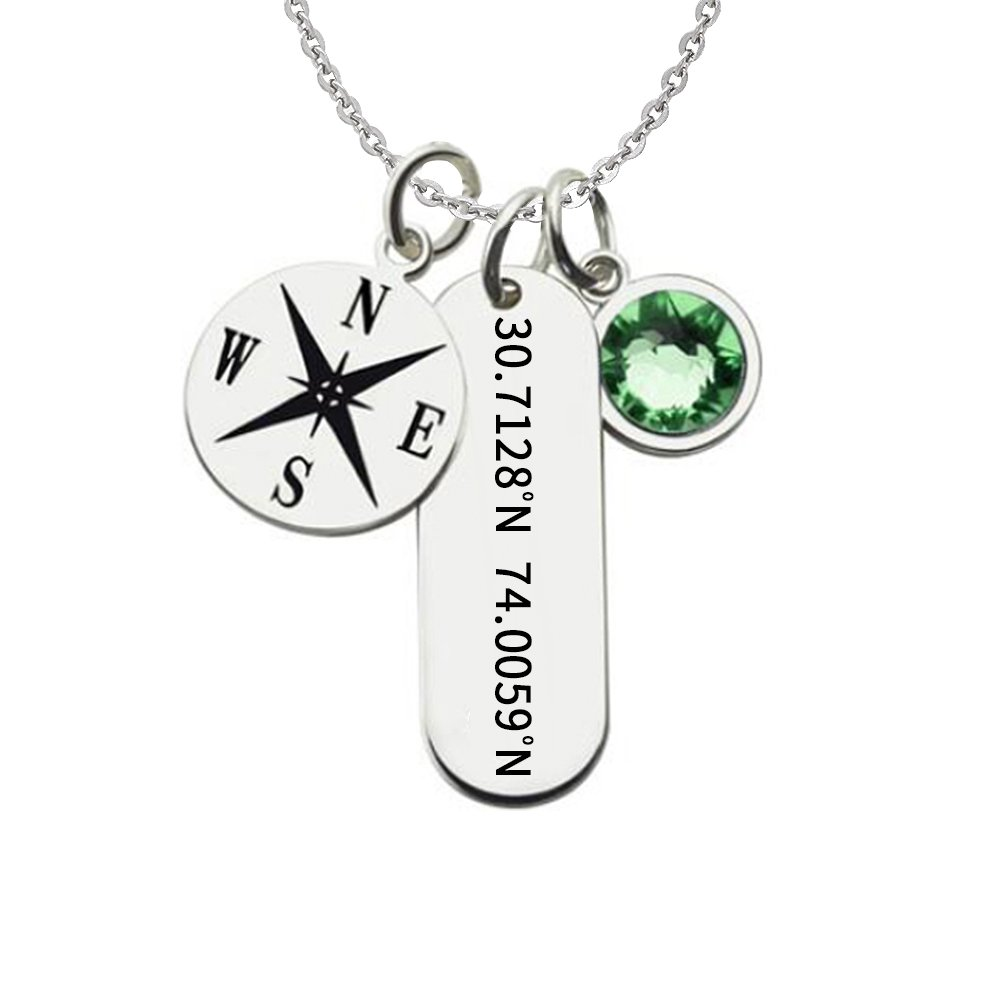 Ouslier 925 Sterling Silver Personalized Birthstone Bar Coordinate Necklace Compass Disc Pendant