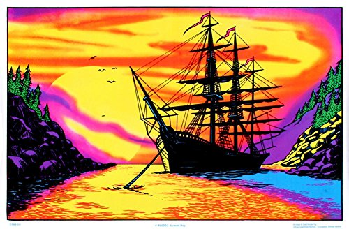 pirate ship black light poster