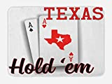 Lunarable Poker Tournament Bath Mat, Texas Hold'em Theme Pair of Aces with Map of The Land Winning Hand, Plush Bathroom Decor Mat with Non Slip Backing, 29.5 W X 17.5 W Inches, Red Black White