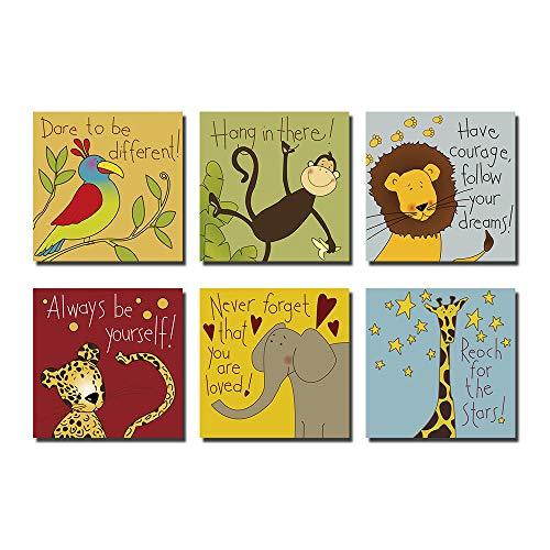 Hi-fun Cartoon Animals Nursery Wall Decor, 6 Pieces Elephant Lion Monkey Parrot Cheetah Giraffe Inspirational Quotes Wall Art Pictures for Kids Baby Boy & Girl Room (8x8inchx6pcs)