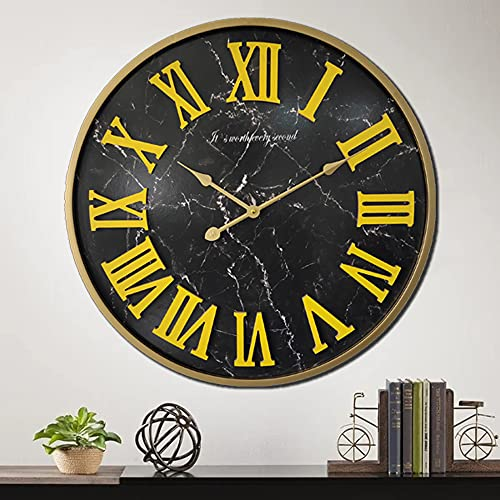 24 inch Large 3D Roman Numeral Wall Clock with Metal Frame, Oversized Living Room Metal Wall Clocks with Marble Face Design