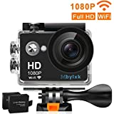 Mbylxk Action Camera Full HD WiFi Waterproof Sports Camera,1080P 30fps 720P 30fps Video,12 MP Photo,2 Inch LCD and 170° Wide Angle Lens, 2 Batteries(Black)