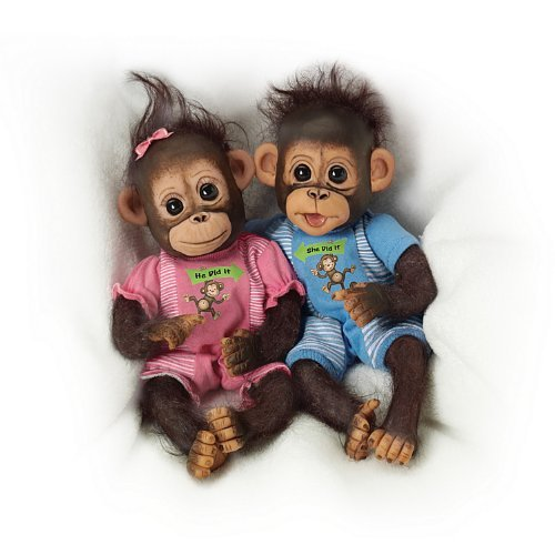 The Ashton-Drake Galleries Poseable Twin Baby Monkey Doll Set By Cindy Sales: He Did It, She Did It (Monkey Baby Doll)