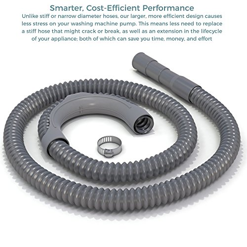 (Premium Replacement Washing Machine Drain Hose (6 Feet) Heavy-Duty Water Support | Flexible, Corrugated Design | Quick & Easy Installation | Incl. Steel Clamp)