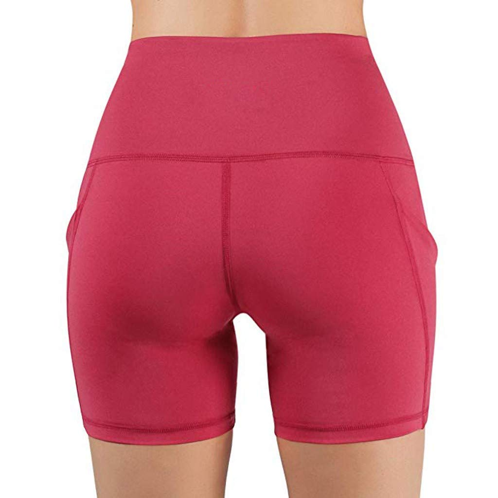 OOEOO High Waist Out Pocket Running Yoga Short Tummy Control Workout Athletic Non See-Through Yoga Shorts