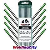 WeldingCity 10 TIG Welding Tungsten Electrodes Pure (Green) 1/16x7 (10Pk Box) by WeldingCity