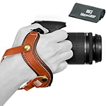 MegaGear Genuine Leather Wrist Strap - Comfort Padding, Enhanced Hand Grip Stability and Security for All Cameras (SLR / DSLR) - One Size Fits All (Brown)