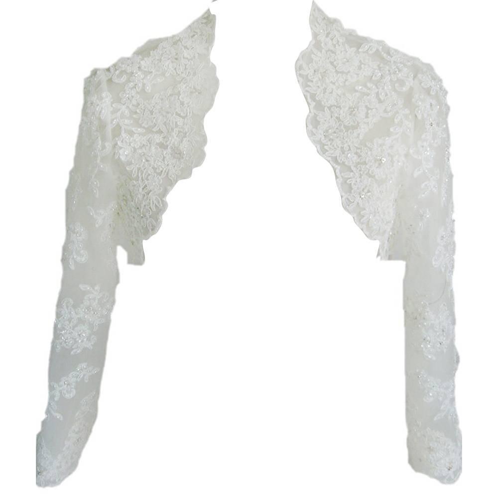 DHS H.S.D Women's Lace Sleeve Length Wedding Jacket Bridal Bolero White 2