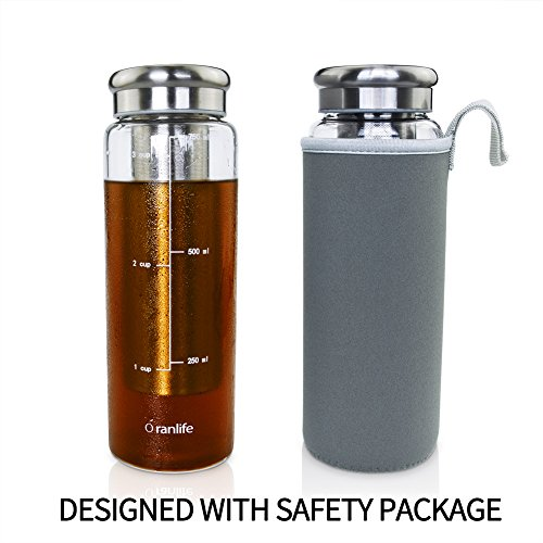 Cold Brew Coffee Bottle by Oranlife 26 oz Portable Iced Tea Brewing Coffee with Deep Removable Stainless Steel Filter and Airtight Lid Infuser for Travel, Business, Outdoor by Little World
