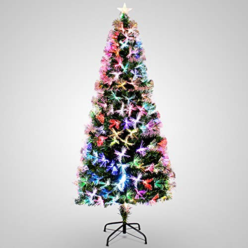 BELLEZE 048-XMT-2130 7-feet Artificial Pre-Lit Fiber Optic Christmas Tree Red Light Snowflakes Top Star Decorations with Stand, 7ft, Green (Fiber Optic Ft Tree 7)