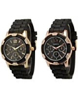 2 Pack Black Gold and Rose Gold Crystal Rhinestone Geneva Faux Chronograph Rubber Jelly Watch