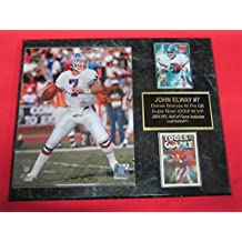 John Elway Denver Broncos 2 Card Collector Plaque w/8x10 Action Photo
