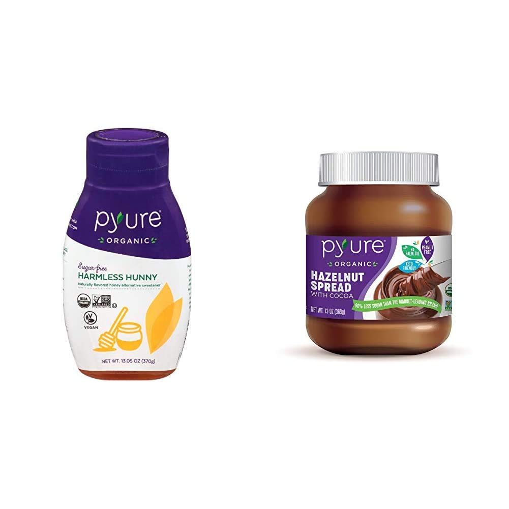 Organic Harmless Hunny by Pyure | Vegan Honey Alternative, 13.05 Ounce & Organic Hazelnut Spread with Cocoa by Pyure | Keto Friendly, No Palm Oil, Vegan, Peanut Free | 13 Oz